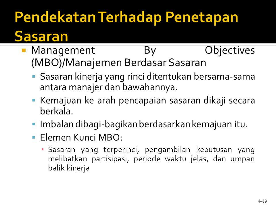  Management By Objectives (MBO)/Manajemen Berdasar Sasaran  Sasaran kinerja yang rinci ditentukan bersama-sama antara manajer dan bawahannya.  Kema