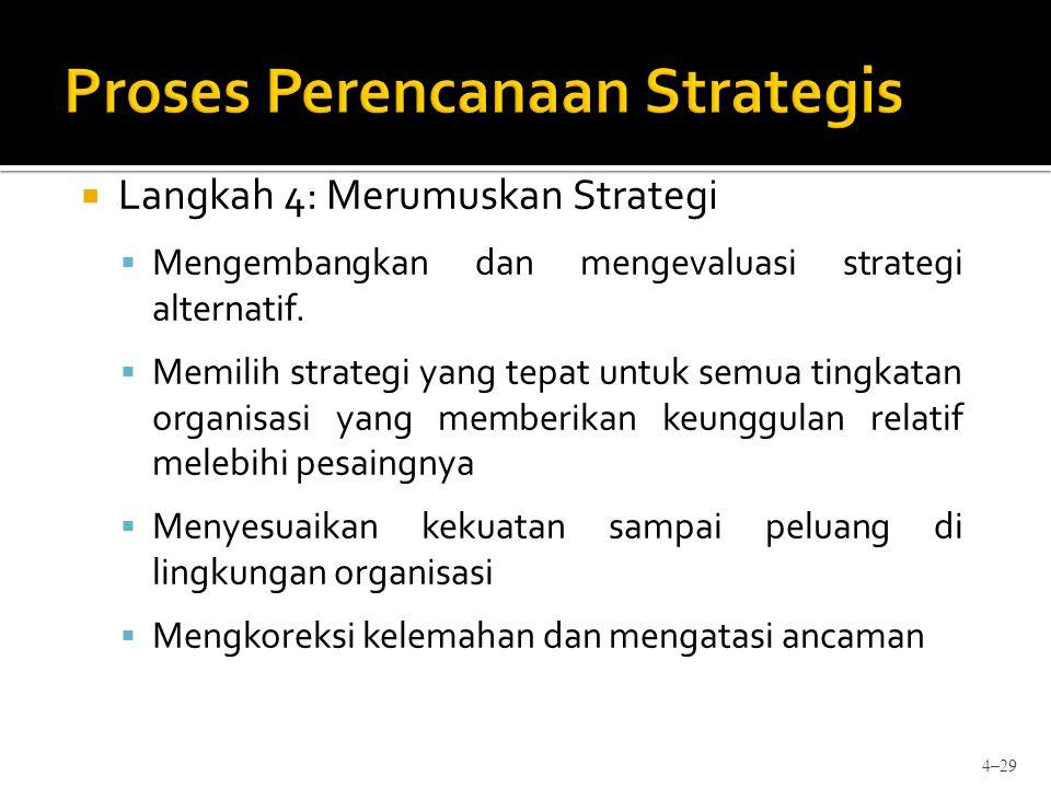  Langkah 4: Merumuskan Strategi  Mengembangkan dan mengevaluasi strategi alternatif.  Memilih strategi yang tepat untuk semua tingkatan organisasi