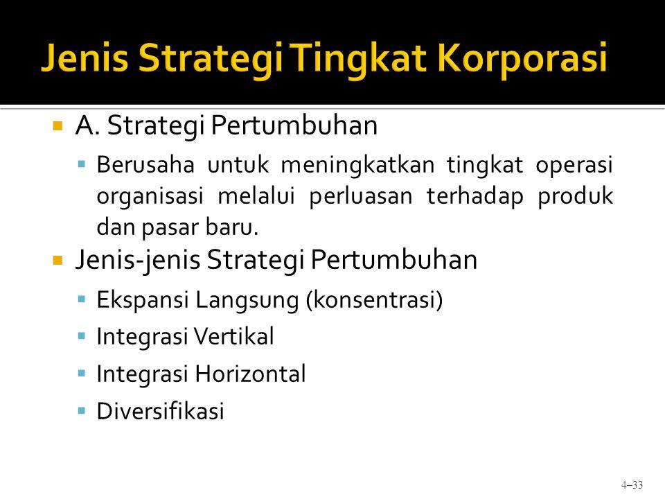  A. Strategi Pertumbuhan  Berusaha untuk meningkatkan tingkat operasi organisasi melalui perluasan terhadap produk dan pasar baru.  Jenis-jenis Str