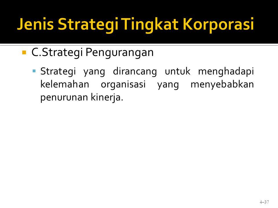  C.Strategi Pengurangan  Strategi yang dirancang untuk menghadapi kelemahan organisasi yang menyebabkan penurunan kinerja. 4–37