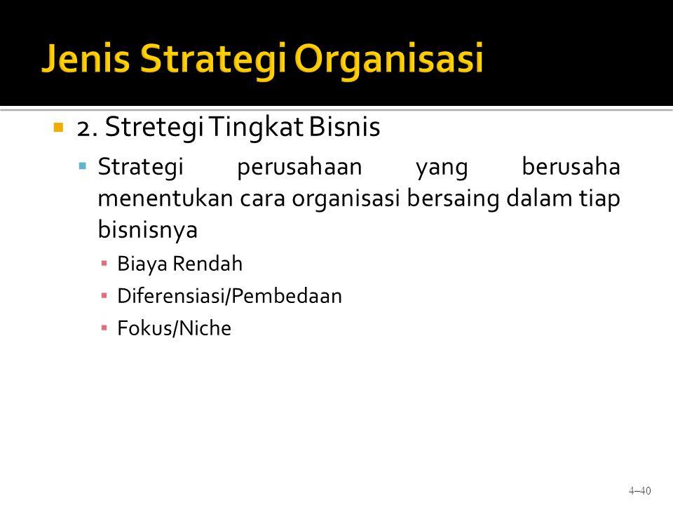  2. Stretegi Tingkat Bisnis  Strategi perusahaan yang berusaha menentukan cara organisasi bersaing dalam tiap bisnisnya ▪ Biaya Rendah ▪ Diferensias