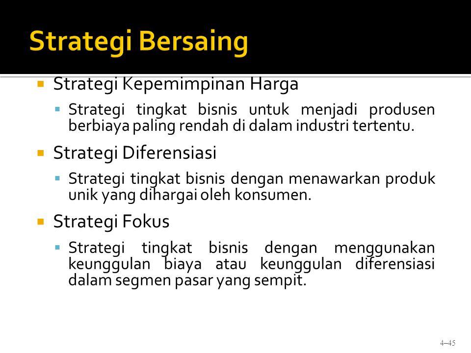 Strategi Kepemimpinan Harga  Strategi tingkat bisnis untuk menjadi produsen berbiaya paling rendah di dalam industri tertentu.  Strategi Diferensi