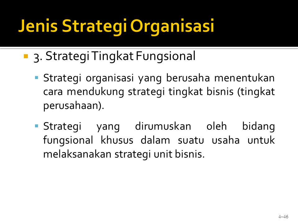  3. Strategi Tingkat Fungsional  Strategi organisasi yang berusaha menentukan cara mendukung strategi tingkat bisnis (tingkat perusahaan).  Strateg