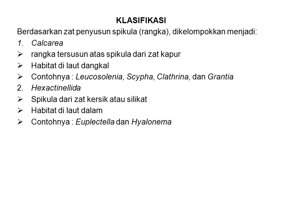 KLASIFIKASI Berdasarkan zat penyusun spikula (rangka), dikelompokkan menjadi: 1.Calcarea  rangka tersusun atas spikula dari zat kapur  Habitat di laut dangkal  Contohnya : Leucosolenia, Scypha, Clathrina, dan Grantia 2.