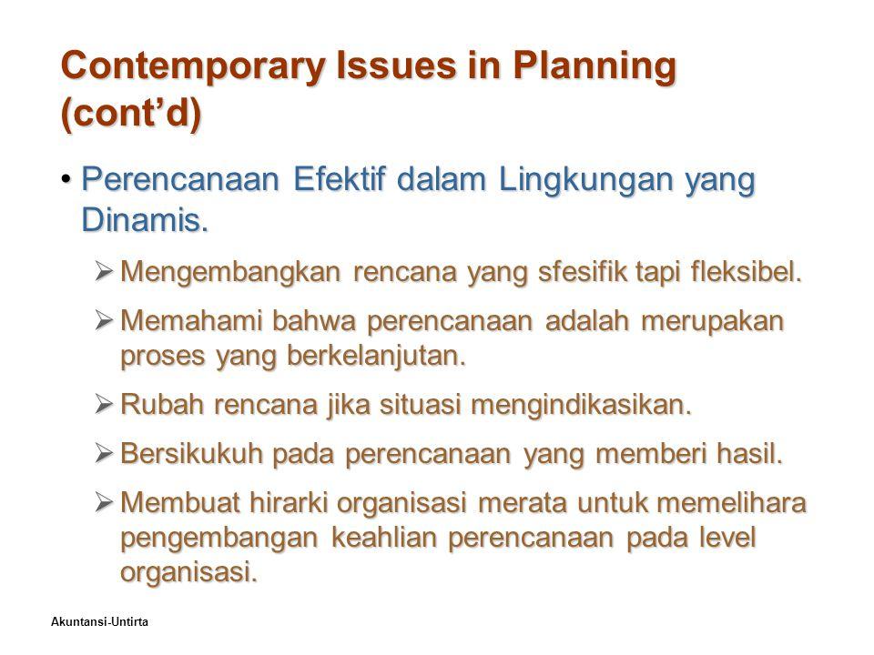 Akuntansi-Untirta Contemporary Issues in Planning (cont'd) Perencanaan Efektif dalam Lingkungan yang Dinamis.Perencanaan Efektif dalam Lingkungan yang