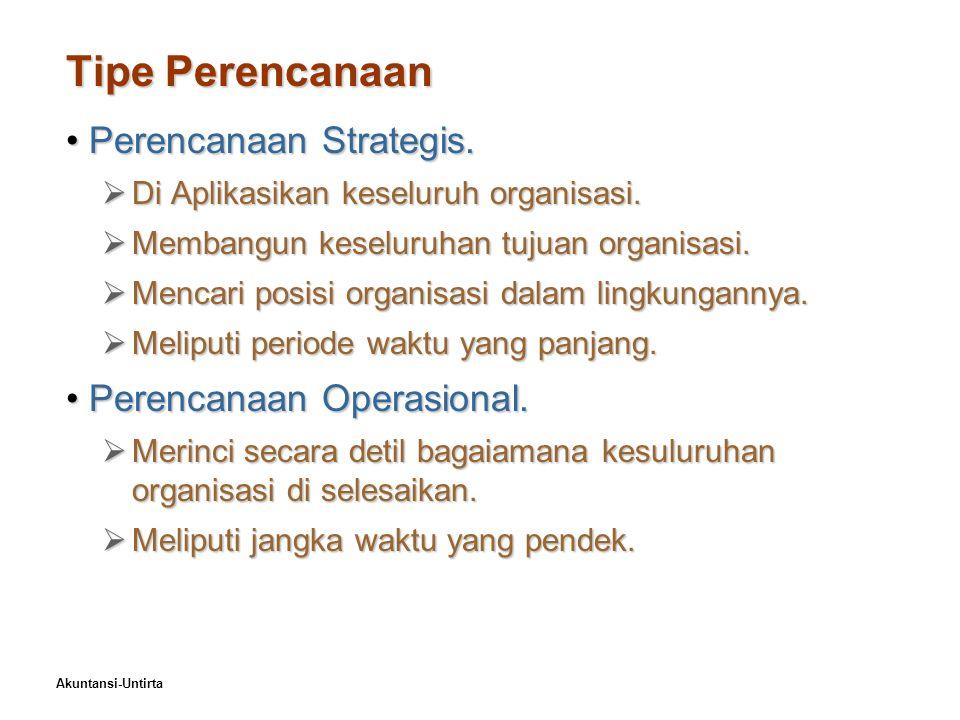 Akuntansi-Untirta Tipe Perencanaan Perencanaan Strategis.Perencanaan Strategis.  Di Aplikasikan keseluruh organisasi.  Membangun keseluruhan tujuan