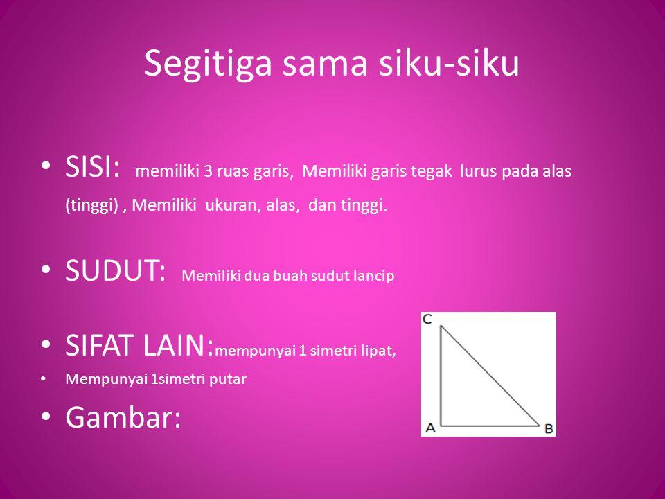 Segitiga sama siku-siku SISI: memiliki 3 ruas garis, Memiliki garis tegak lurus pada alas (tinggi), Memiliki ukuran, alas, dan tinggi.