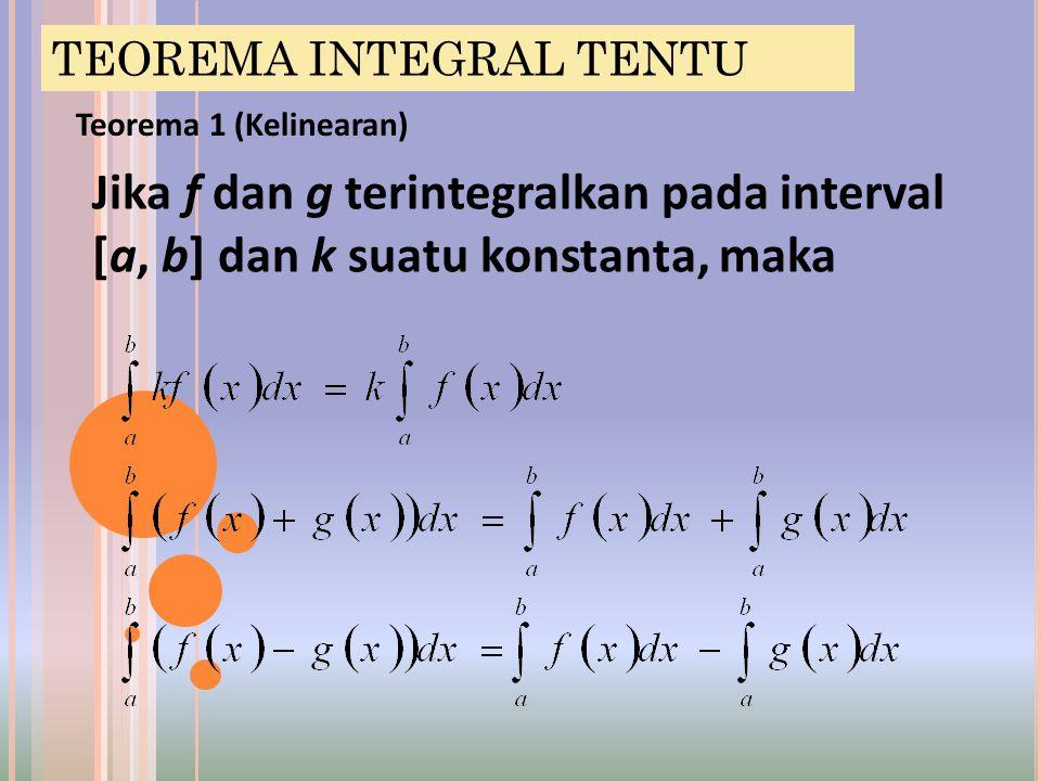 Teorema 2 (Penambahan selang) Jika f terintegralkan pada interval yang mengandung tiga titik a, b, dan c, maka Bagaimanapun urutan dari a, b, dan c