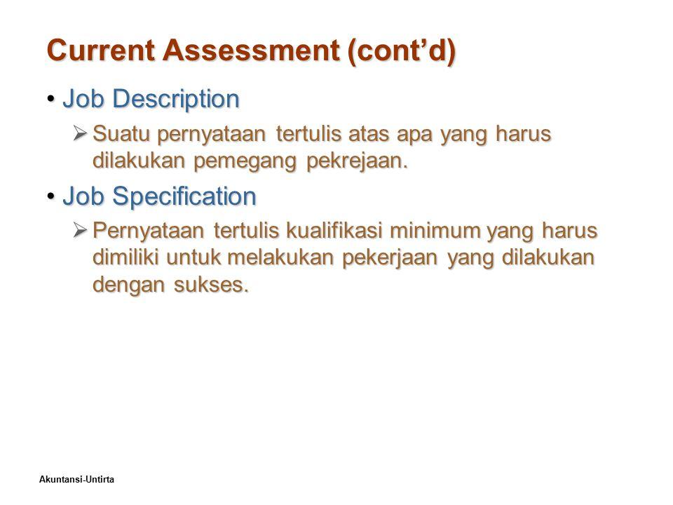 Akuntansi-Untirta Current Assessment (cont'd) Job DescriptionJob Description  Suatu pernyataan tertulis atas apa yang harus dilakukan pemegang pekrejaan.
