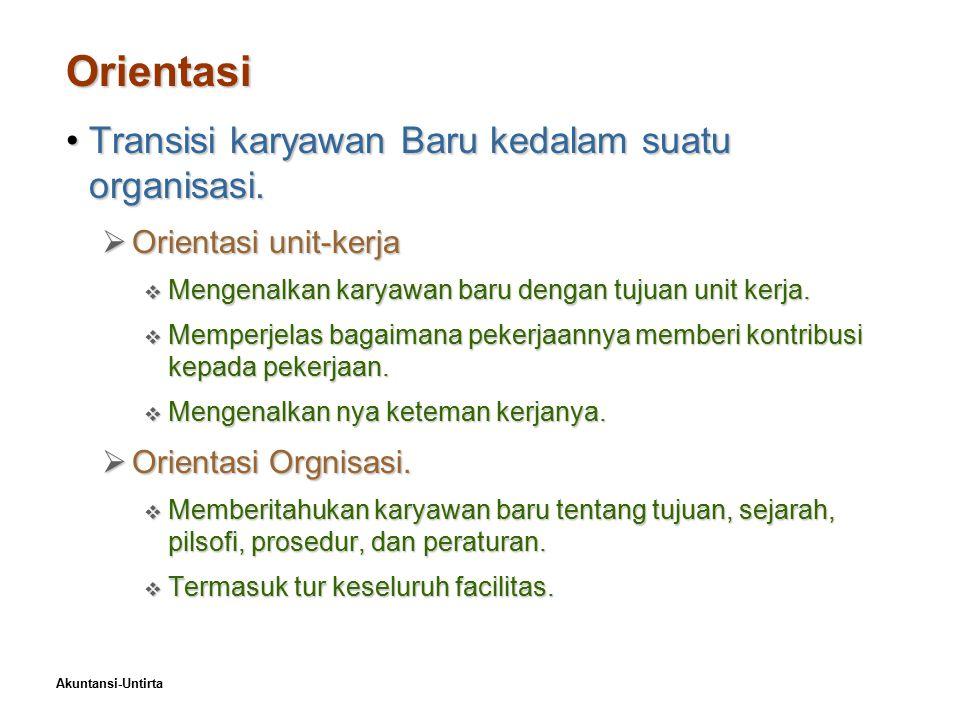 Akuntansi-Untirta Orientasi Transisi karyawan Baru kedalam suatu organisasi.Transisi karyawan Baru kedalam suatu organisasi.