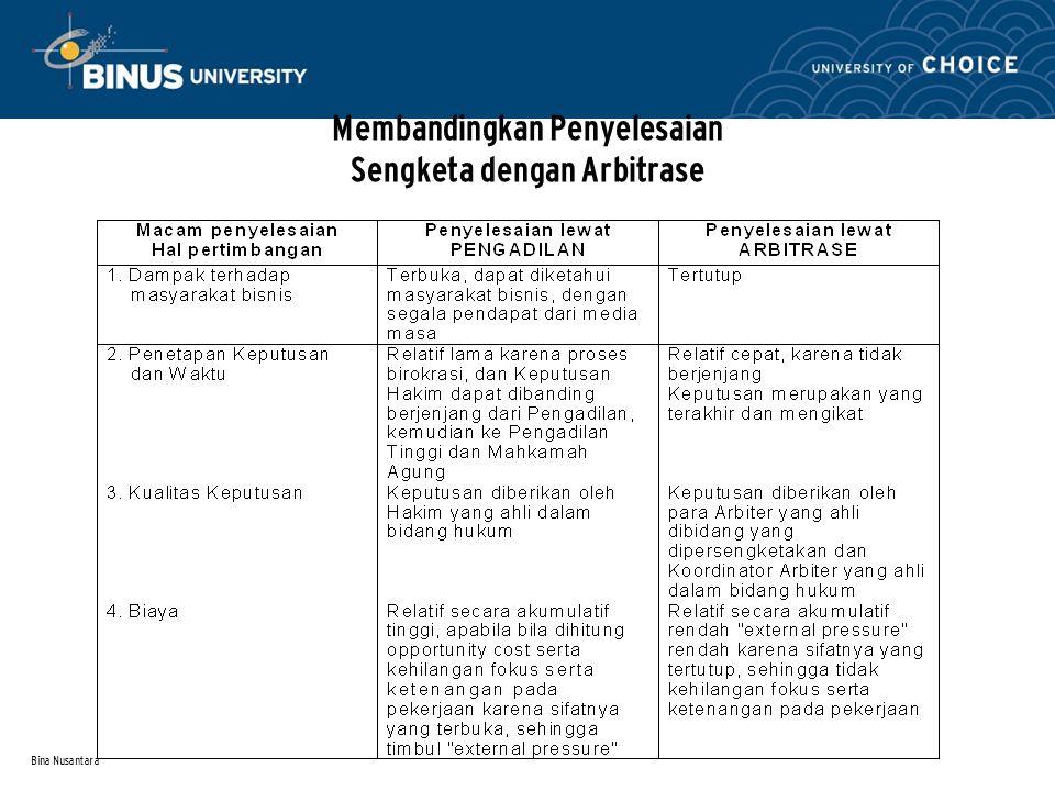 Bina Nusantara Membandingkan Penyelesaian Sengketa dengan Arbitrase