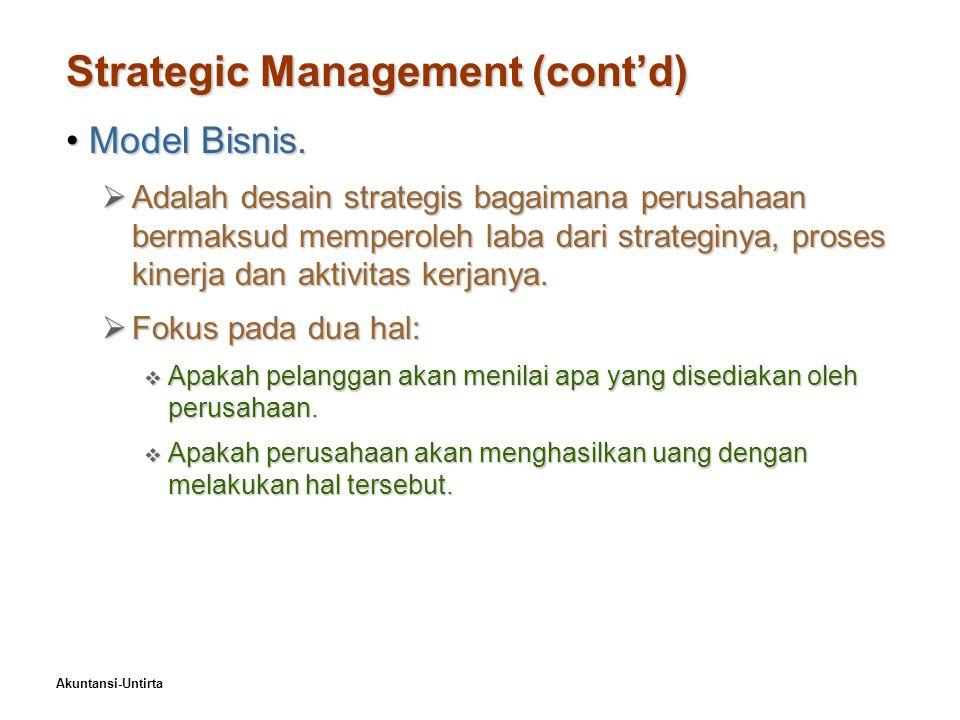 Akuntansi-Untirta Strategic Management (cont'd) Model Bisnis.Model Bisnis.  Adalah desain strategis bagaimana perusahaan bermaksud memperoleh laba da