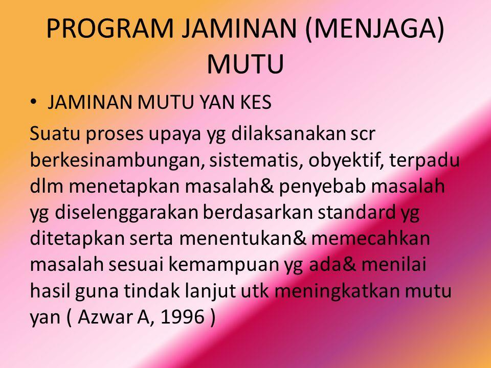 PROGRAM JAMINAN (MENJAGA) MUTU JAMINAN MUTU YAN KES Suatu proses upaya yg dilaksanakan scr berkesinambungan, sistematis, obyektif, terpadu dlm menetap