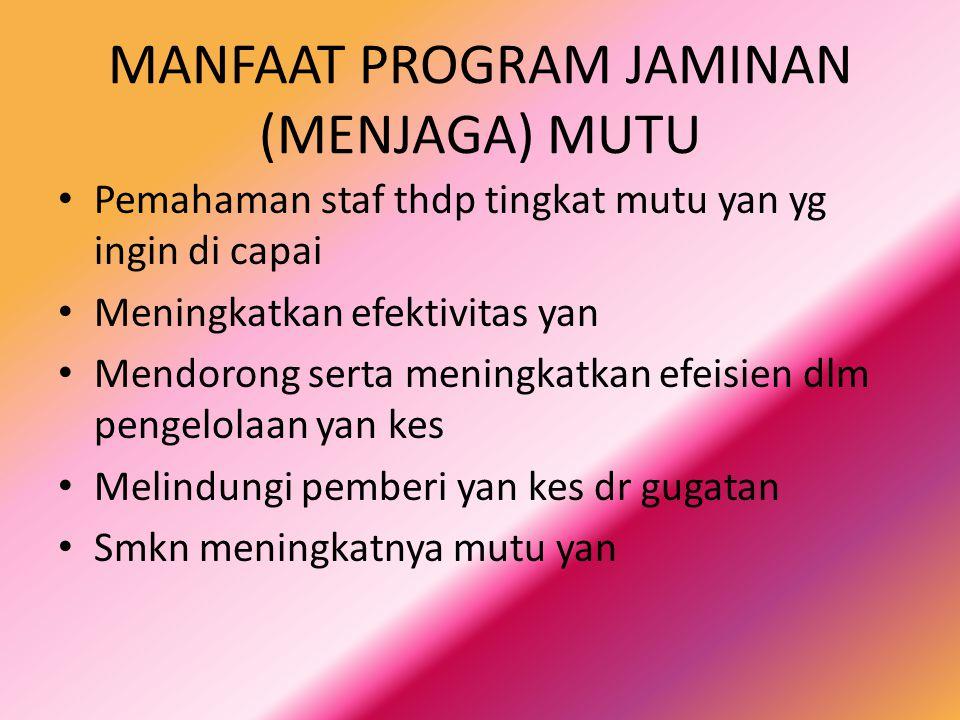 MANFAAT PROGRAM JAMINAN (MENJAGA) MUTU Pemahaman staf thdp tingkat mutu yan yg ingin di capai Meningkatkan efektivitas yan Mendorong serta meningkatka