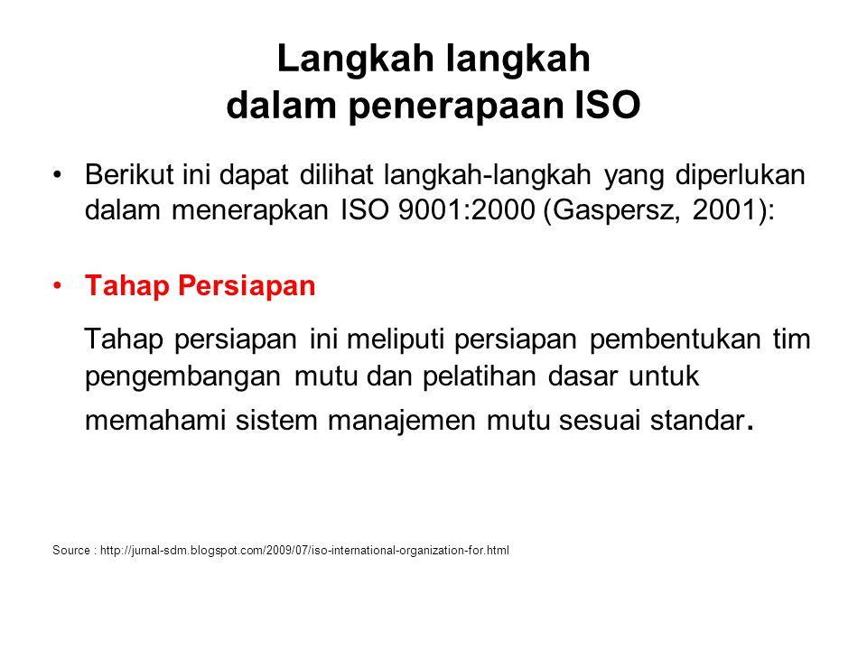 Langkah langkah dalam penerapaan ISO Berikut ini dapat dilihat langkah-langkah yang diperlukan dalam menerapkan ISO 9001:2000 (Gaspersz, 2001): Tahap