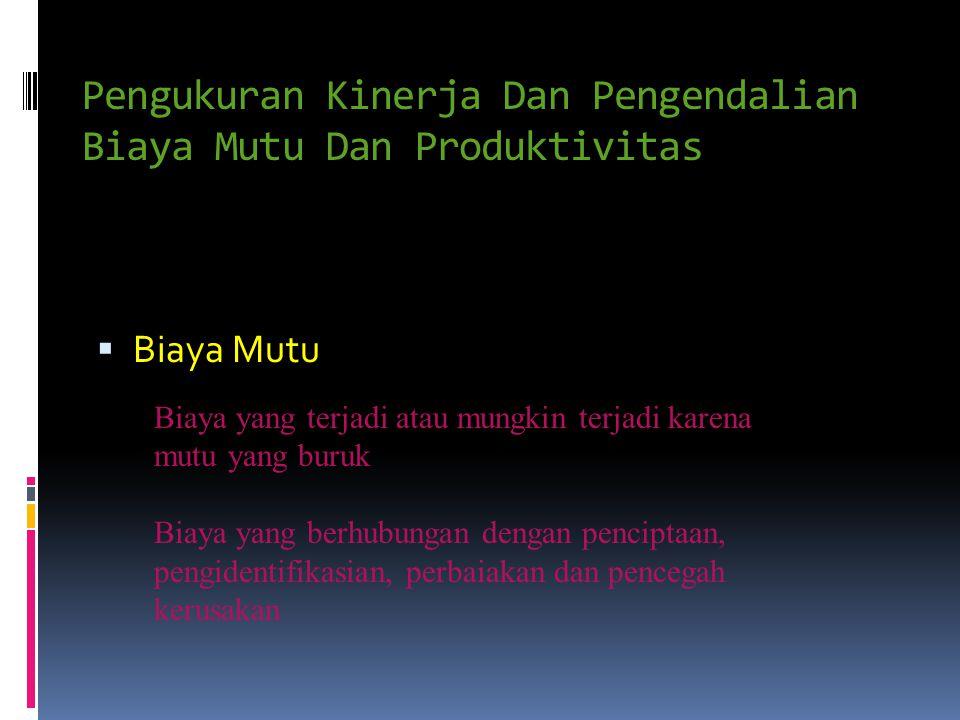 Pengukuran Kinerja Dan Pengendalian Biaya Mutu Dan Produktivitas BBiaya Mutu Biaya yang terjadi atau mungkin terjadi karena mutu yang buruk Biaya ya