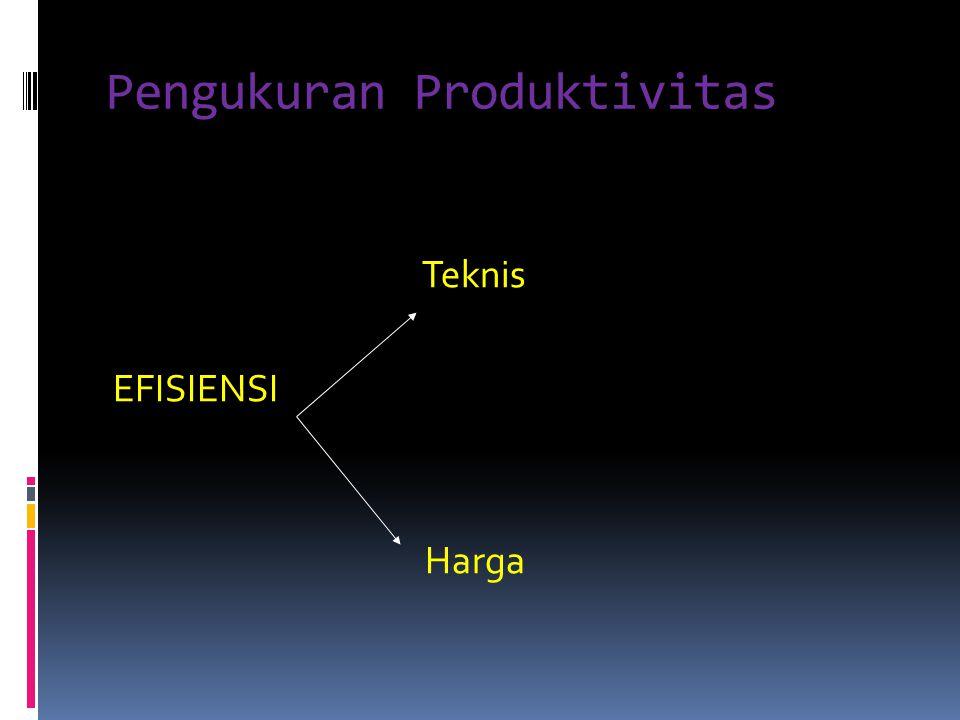 Pengukuran Produktivitas Teknis EFISIENSI Harga