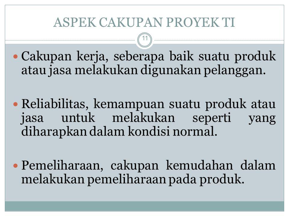 ASPEK CAKUPAN PROYEK TI 11 Cakupan kerja, seberapa baik suatu produk atau jasa melakukan digunakan pelanggan.