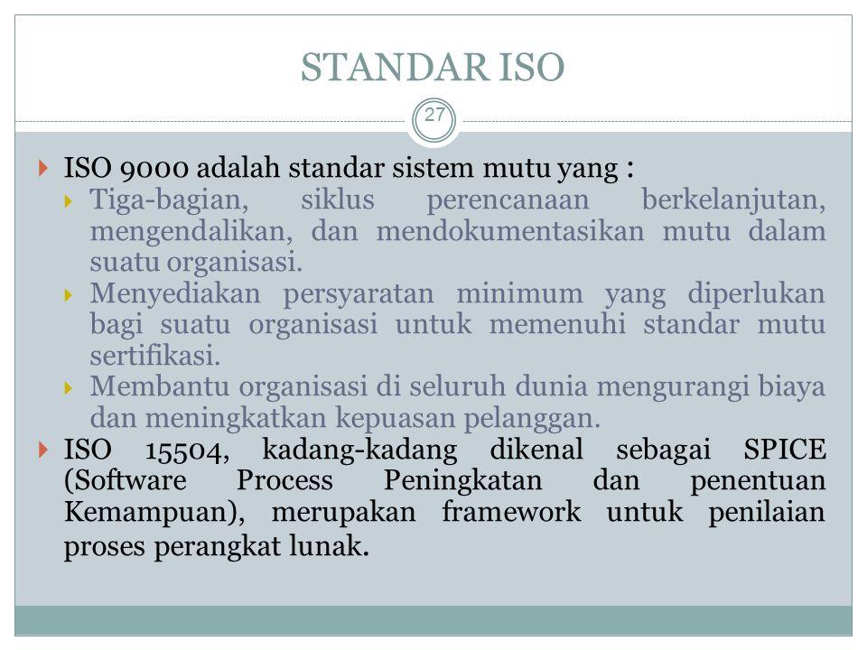 STANDAR ISO 27  ISO 9000 adalah standar sistem mutu yang :  Tiga-bagian, siklus perencanaan berkelanjutan, mengendalikan, dan mendokumentasikan mutu dalam suatu organisasi.
