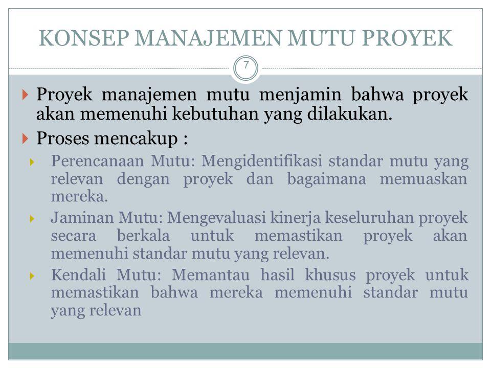 KONSEP MANAJEMEN MUTU PROYEK 7  Proyek manajemen mutu menjamin bahwa proyek akan memenuhi kebutuhan yang dilakukan.