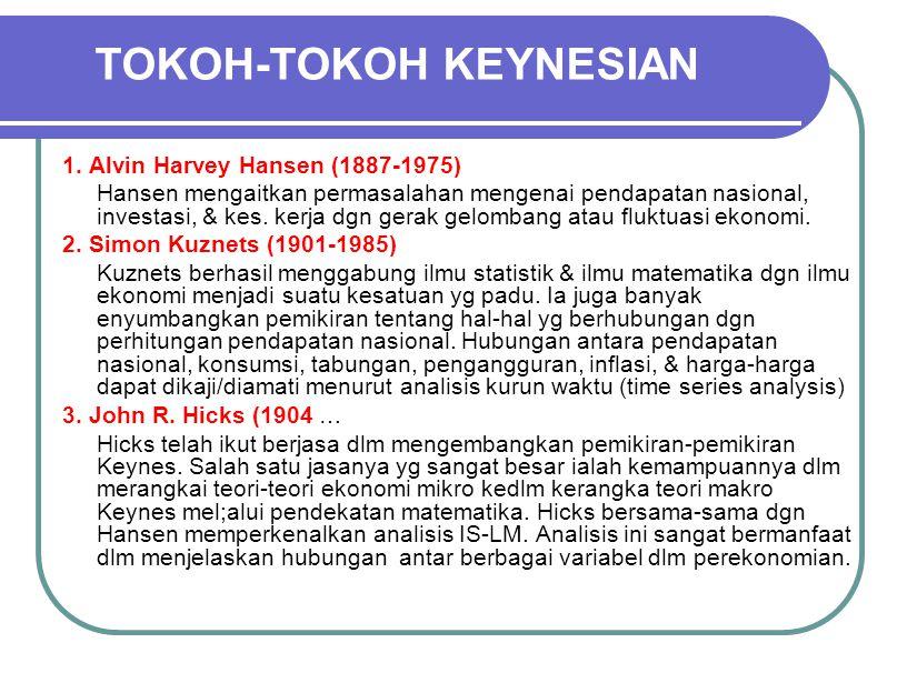  Penerus ajaran Keynes yg tergolong Neo-Keynesian sering disederhanakan menjadi Keynesian.  Mereka banyak berjasa dlm mengembangkan teor-teori yg be