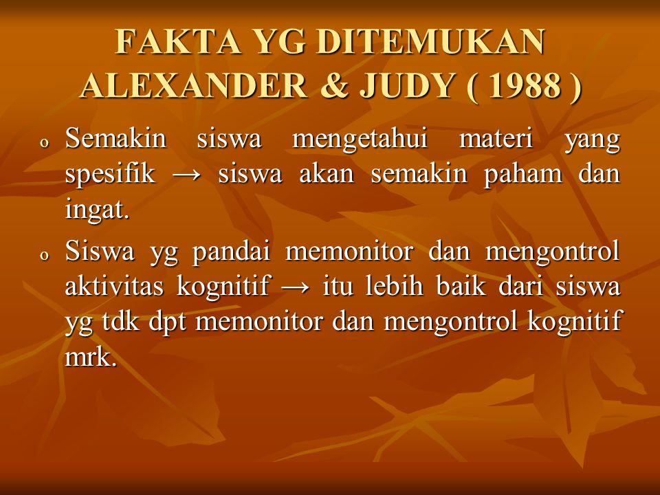 FAKTA YG DITEMUKAN ALEXANDER & JUDY ( 1988 ) o Semakin siswa mengetahui materi yang spesifik → siswa akan semakin paham dan ingat.