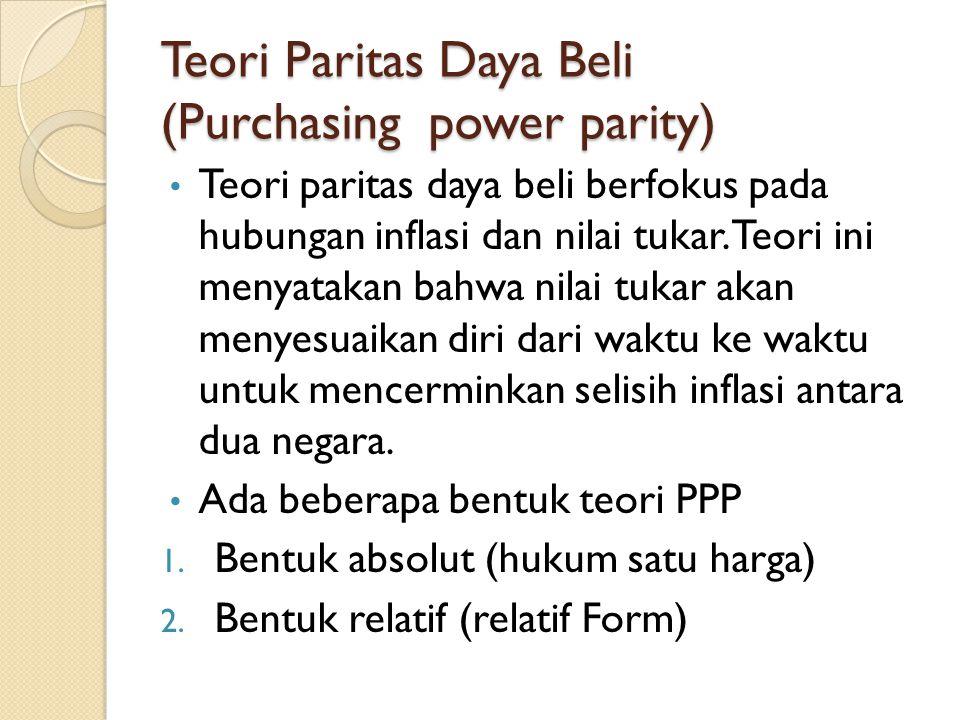 Teori Paritas Daya Beli (Purchasing power parity) Teori paritas daya beli berfokus pada hubungan inflasi dan nilai tukar. Teori ini menyatakan bahwa n