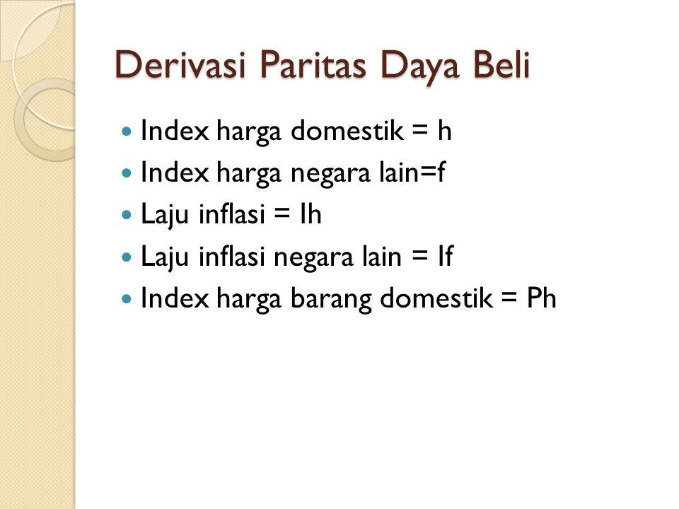 Derivasi Paritas Daya Beli Index harga domestik = h Index harga negara lain=f Laju inflasi = Ih Laju inflasi negara lain = If Index harga barang domes