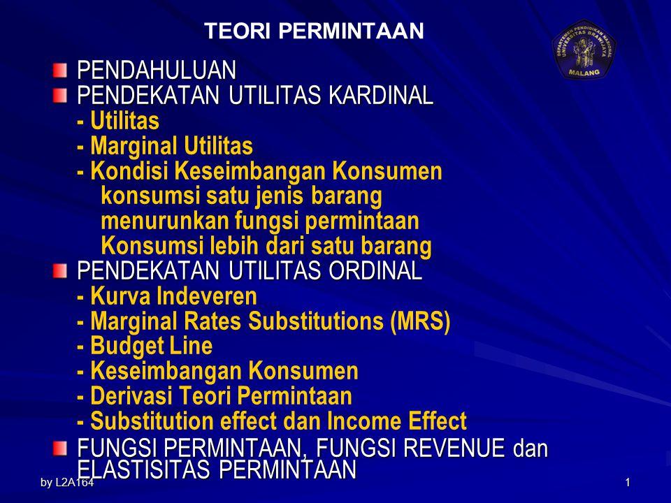 by L2A1641 TEORI PERMINTAAN PENDAHULUAN PENDEKATAN UTILITAS KARDINAL - Utilitas - Marginal Utilitas - Kondisi Keseimbangan Konsumen konsumsi satu jenis barang menurunkan fungsi permintaan Konsumsi lebih dari satu barang PENDEKATAN UTILITAS ORDINAL - Kurva Indeveren - Marginal Rates Substitutions (MRS) - Budget Line - Keseimbangan Konsumen - Derivasi Teori Permintaan - Substitution effect dan Income Effect FUNGSI PERMINTAAN, FUNGSI REVENUE dan ELASTISITAS PERMINTAAN