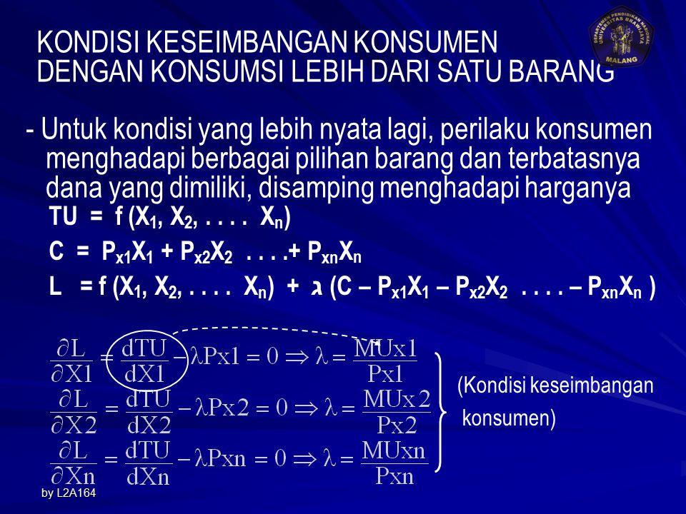 by L2A1649 Maximize : S = TU - Z = f (X) - Px. X Agar S maksimum, maka : Jika Px = 6, maka : X = 8 – 0,5Px X = 8 - 0,5(6) = 5 TU = 16(5) – 5 2 = 55 Z