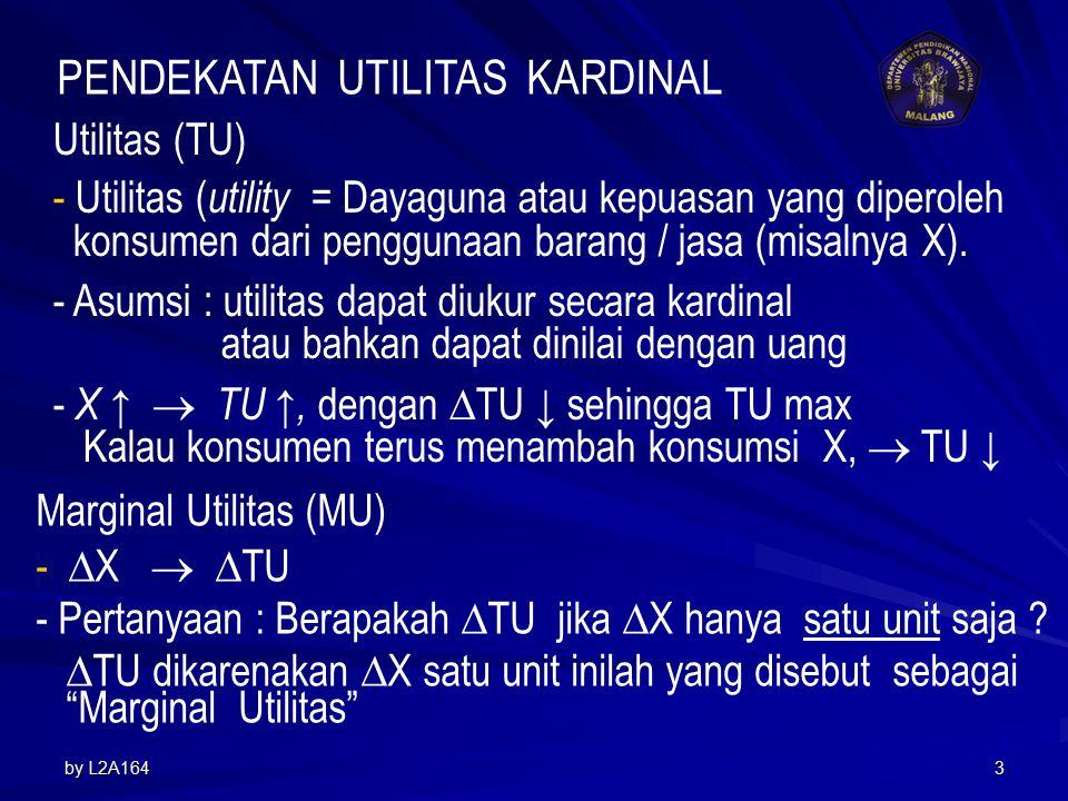 by L2A1643 Utilitas (TU) - Utilitas ( utility = Dayaguna atau kepuasan yang diperoleh konsumen dari penggunaan barang / jasa (misalnya X).