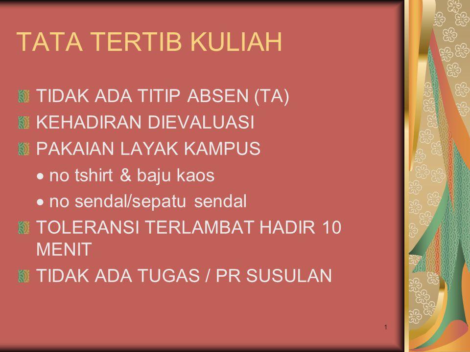 TATA TERTIB KULIAH TIDAK ADA TITIP ABSEN (TA) KEHADIRAN DIEVALUASI PAKAIAN LAYAK KAMPUS  no tshirt & baju kaos  no sendal/sepatu sendal TOLERANSI TERLAMBAT HADIR 10 MENIT TIDAK ADA TUGAS / PR SUSULAN 1