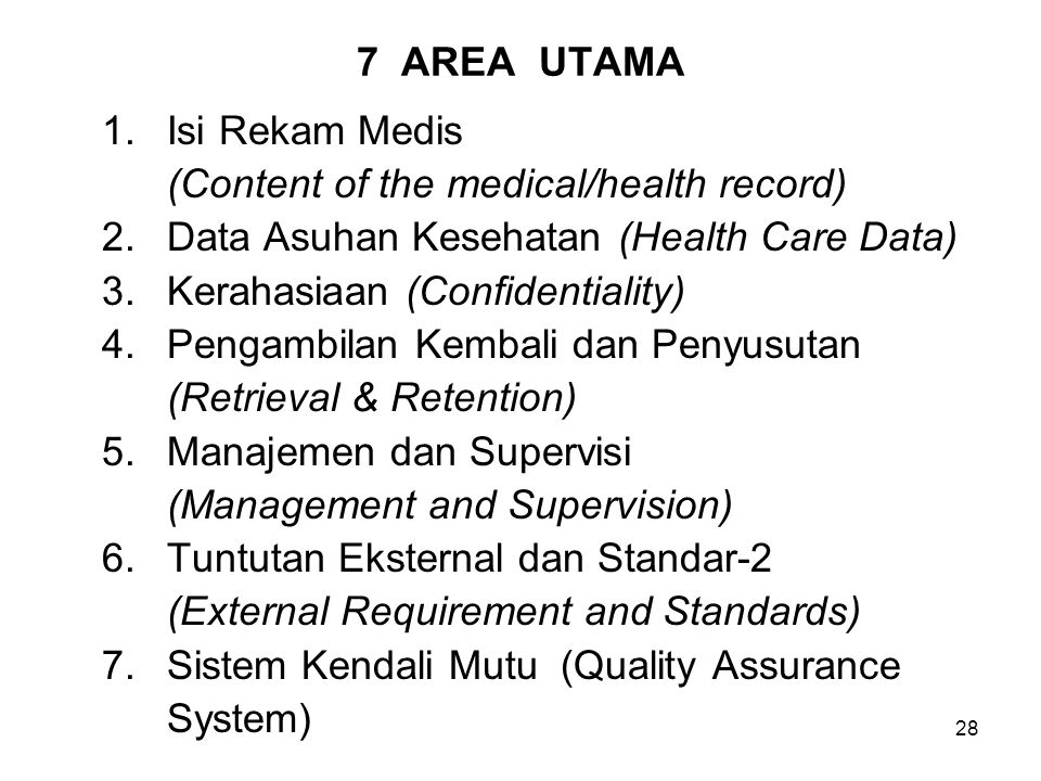 28 7 AREA UTAMA 1.Isi Rekam Medis (Content of the medical/health record) 2.Data Asuhan Kesehatan (Health Care Data) 3.Kerahasiaan (Confidentiality) 4.