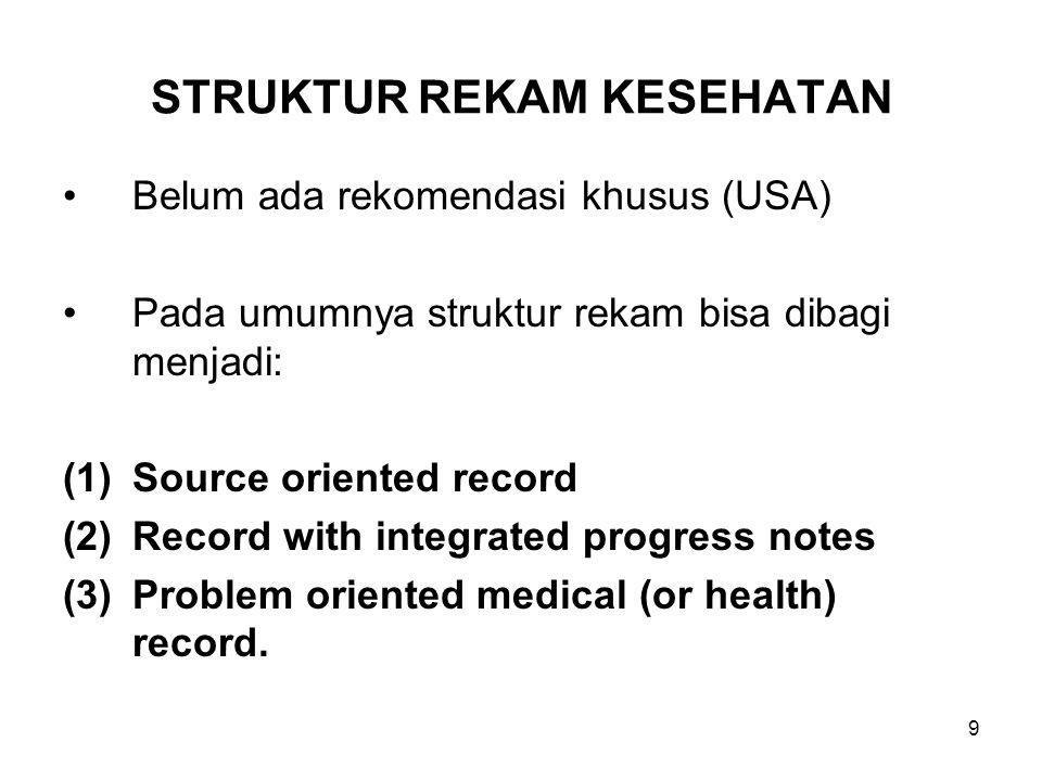 10 SOURCE ORIENTED HEALTH RECORD Rekam kesehatan tradisional menyusun dan menata secara kronologik informasi dari para provider asuhan.