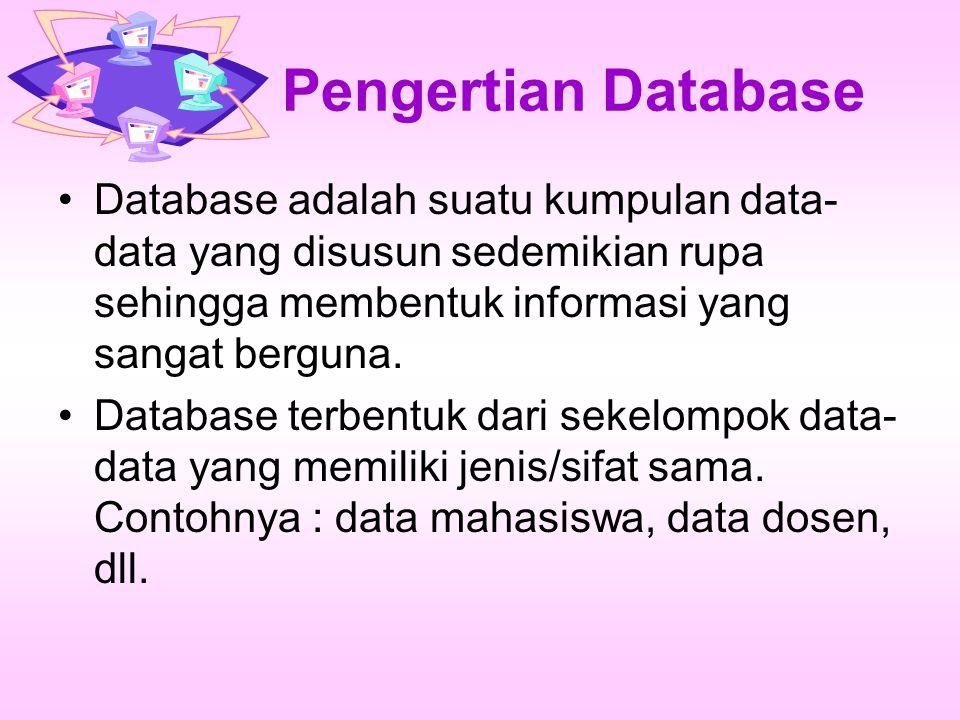 Pengertian Database Database adalah suatu kumpulan data- data yang disusun sedemikian rupa sehingga membentuk informasi yang sangat berguna. Database