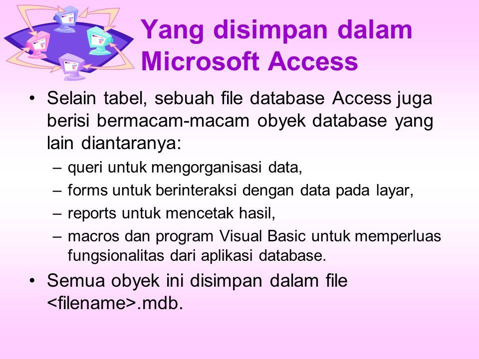 Yang disimpan dalam Microsoft Access Selain tabel, sebuah file database Access juga berisi bermacam-macam obyek database yang lain diantaranya: –queri