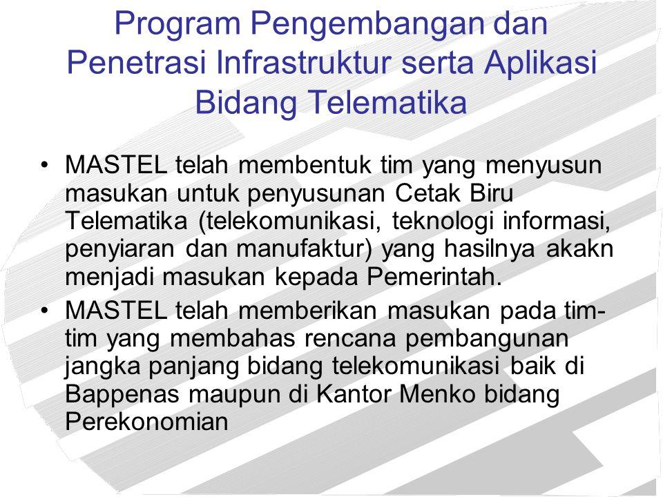 Program Pengembangan dan Penetrasi Infrastruktur serta Aplikasi Bidang Telematika MASTEL telah membentuk tim yang menyusun masukan untuk penyusunan Ce