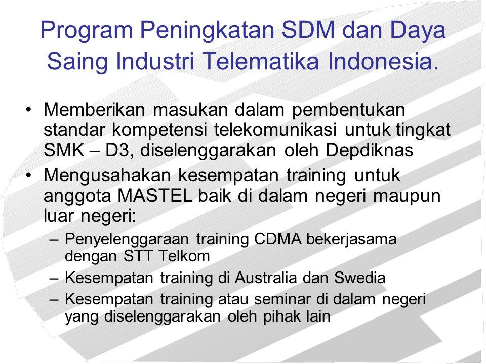 Program Peningkatan SDM dan Daya Saing Industri Telematika Indonesia. Memberikan masukan dalam pembentukan standar kompetensi telekomunikasi untuk tin