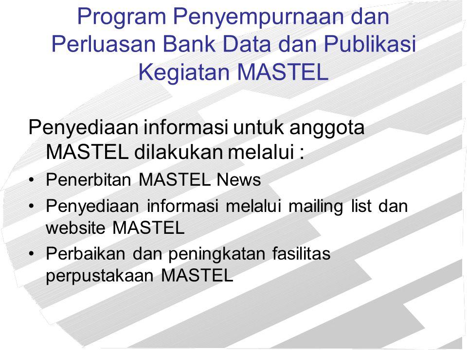 Program Penyempurnaan dan Perluasan Bank Data dan Publikasi Kegiatan MASTEL Penyediaan informasi untuk anggota MASTEL dilakukan melalui : Penerbitan M