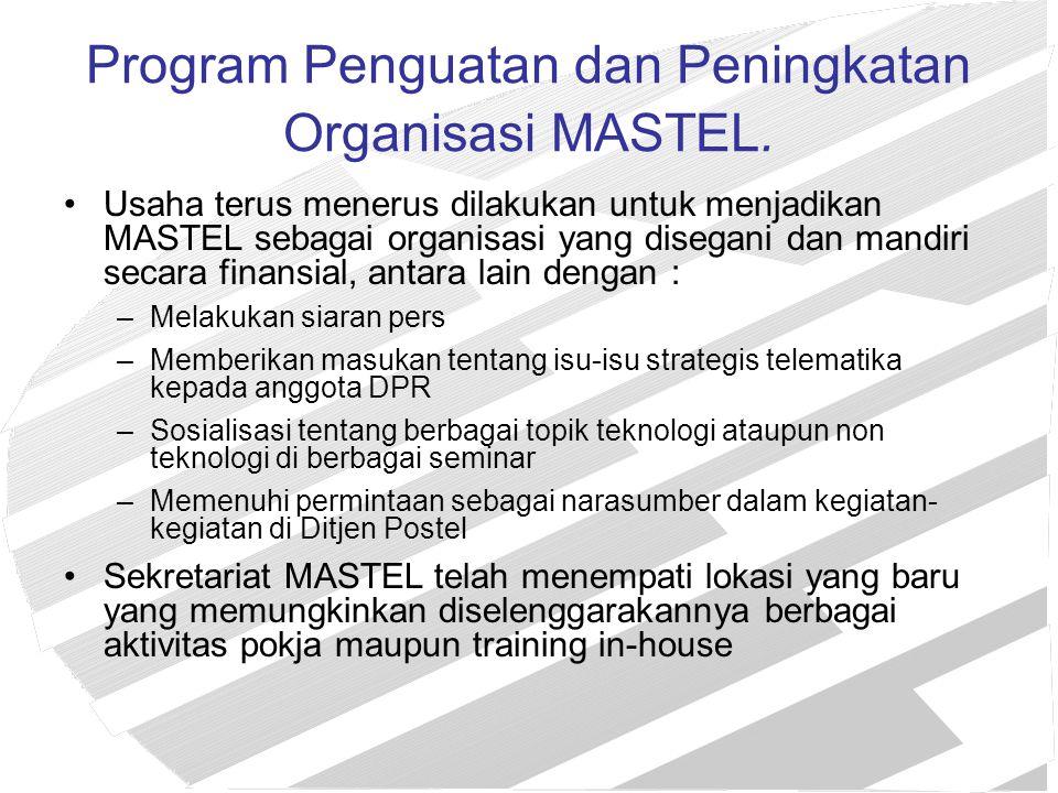 Program Penguatan dan Peningkatan Organisasi MASTEL. Usaha terus menerus dilakukan untuk menjadikan MASTEL sebagai organisasi yang disegani dan mandir