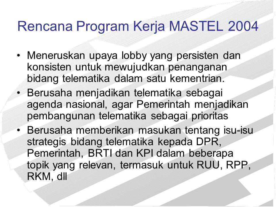 Rencana Program Kerja MASTEL 2004 Meneruskan upaya lobby yang persisten dan konsisten untuk mewujudkan penanganan bidang telematika dalam satu kementr