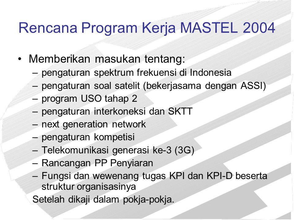 Rencana Program Kerja MASTEL 2004 Memberikan masukan tentang: –pengaturan spektrum frekuensi di Indonesia –pengaturan soal satelit (bekerjasama dengan