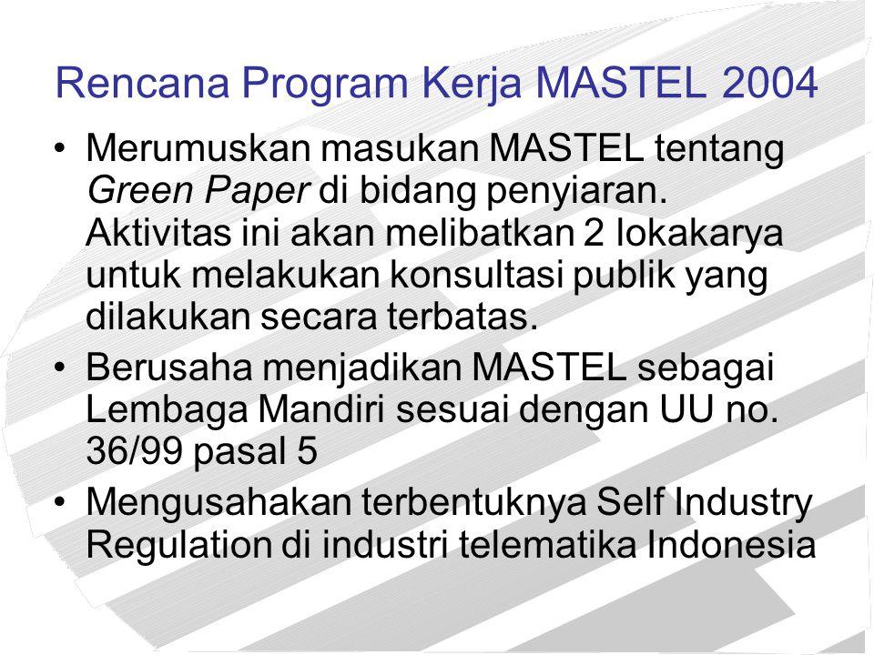 Rencana Program Kerja MASTEL 2004 Merumuskan masukan MASTEL tentang Green Paper di bidang penyiaran. Aktivitas ini akan melibatkan 2 lokakarya untuk m