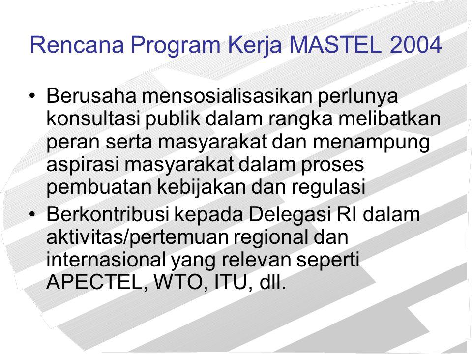 Rencana Program Kerja MASTEL 2004 Berusaha mensosialisasikan perlunya konsultasi publik dalam rangka melibatkan peran serta masyarakat dan menampung a