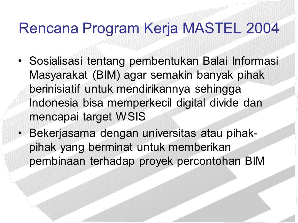Rencana Program Kerja MASTEL 2004 Sosialisasi tentang pembentukan Balai Informasi Masyarakat (BIM) agar semakin banyak pihak berinisiatif untuk mendir