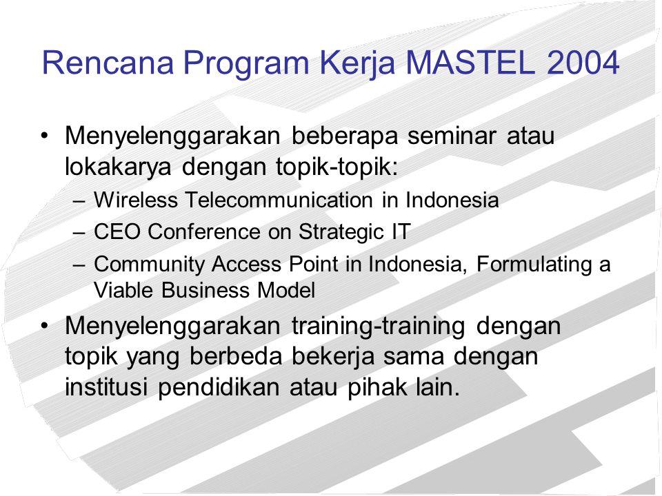 Rencana Program Kerja MASTEL 2004 Menyelenggarakan beberapa seminar atau lokakarya dengan topik-topik: –Wireless Telecommunication in Indonesia –CEO C