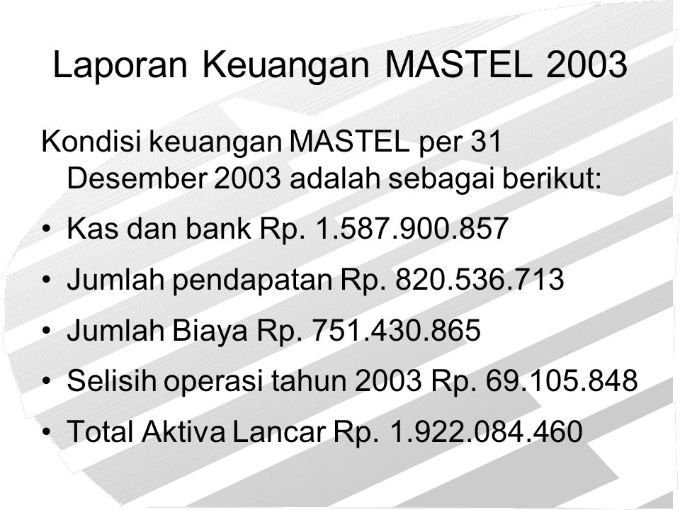 Laporan Keuangan MASTEL 2003 Kondisi keuangan MASTEL per 31 Desember 2003 adalah sebagai berikut: Kas dan bank Rp. 1.587.900.857 Jumlah pendapatan Rp.
