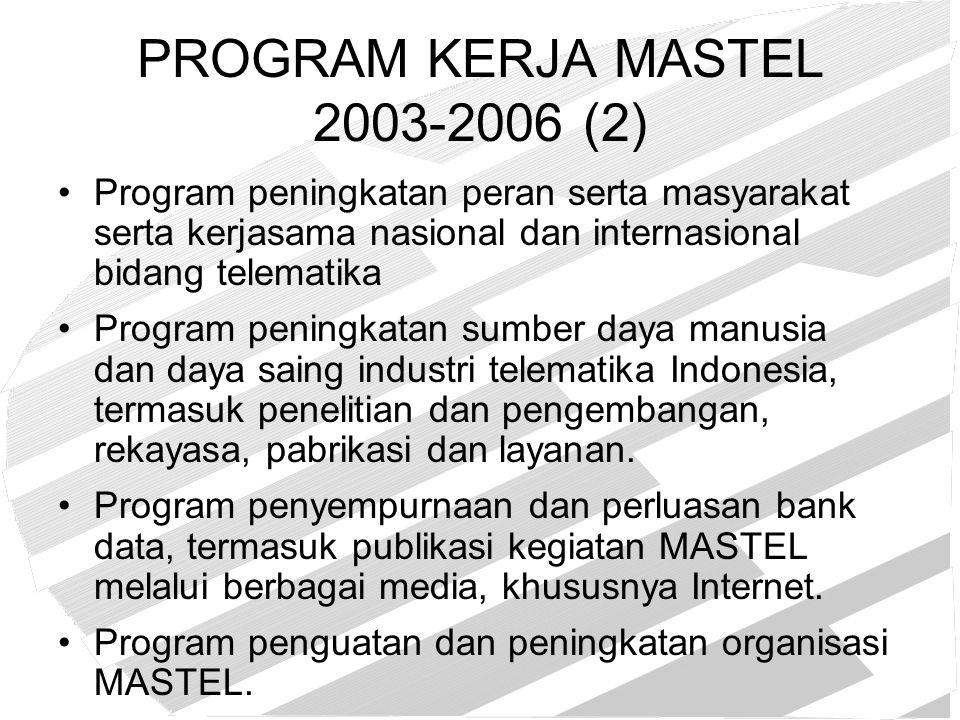 Program Pembentukan Kebijakan, Kelembagaan, dan Regulasi Telematika, serta Koordinasi Antar Instansi Terkait (1) Memperjuangkan pembentukan Badan Regulasi Independen – BRTI terbentuk pada Desember 2003 Terbentuknya Komisi Penyiaran Indonesia pada Nopember 2003, salah seorang anggota KPI adalah usulan MASTEL.
