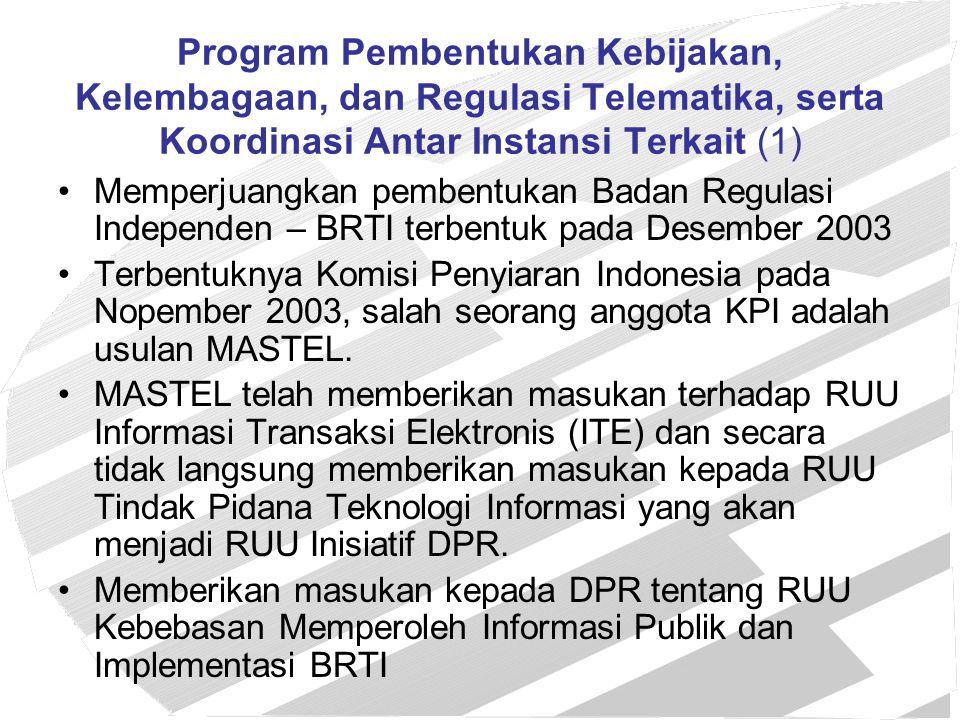 Program Pembentukan Kebijakan, Kelembagaan, dan Regulasi Telematika, serta Koordinasi Antar Instansi Terkait (2) –MASTEL aktif memberikan masukan tentang kebijakan telematika melalui Tim Koordinasi Telematika Indonesia (TKTI).