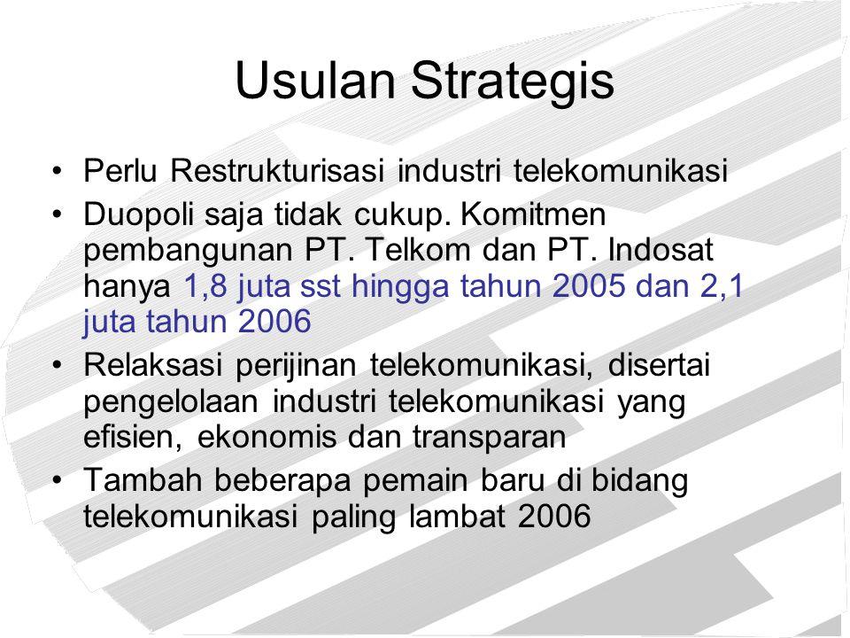 Usulan Strategis Perlu Restrukturisasi industri telekomunikasi Duopoli saja tidak cukup. Komitmen pembangunan PT. Telkom dan PT. Indosat hanya 1,8 jut